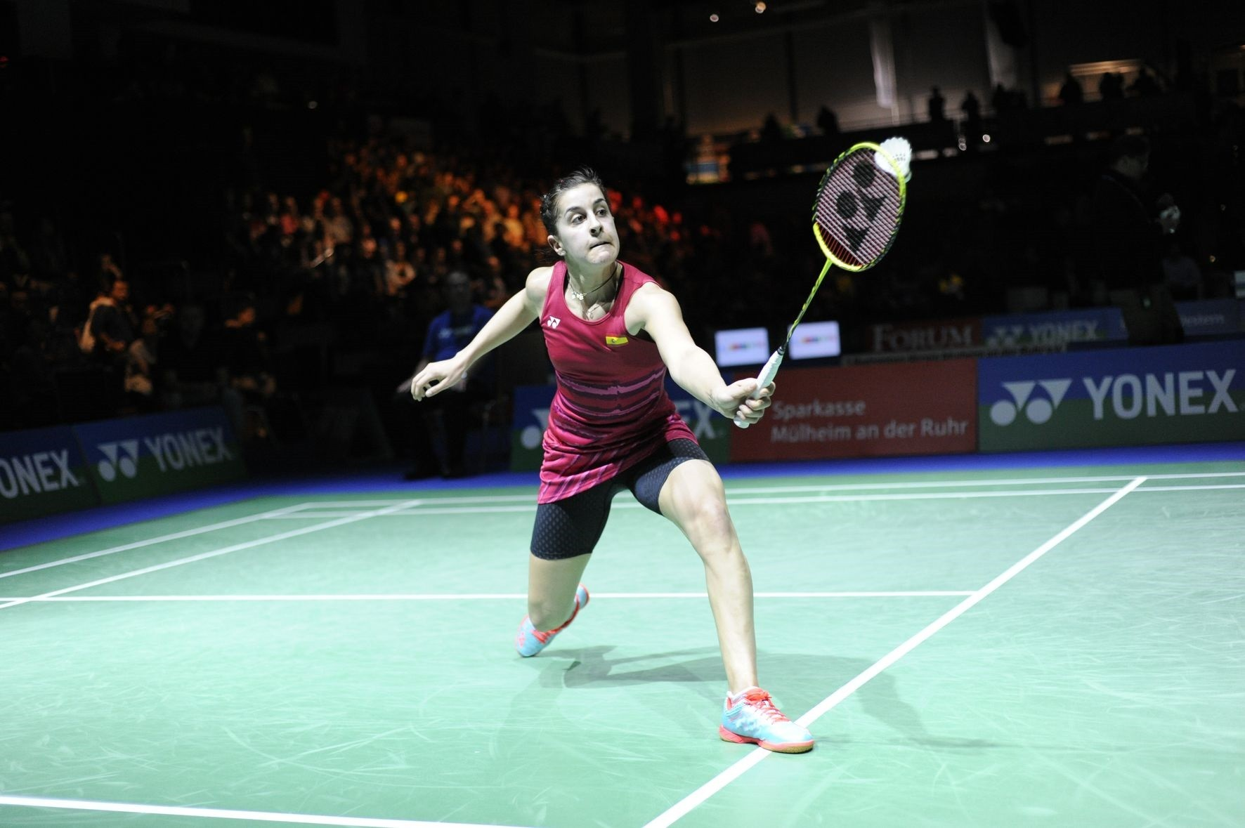Bei den YONEX German Open schlagen traditionell Superstars wie Carolina Marin, die Olympiasiegerin von 2016 im Dameneinzel (im Bild bei den YGO 2017), auf