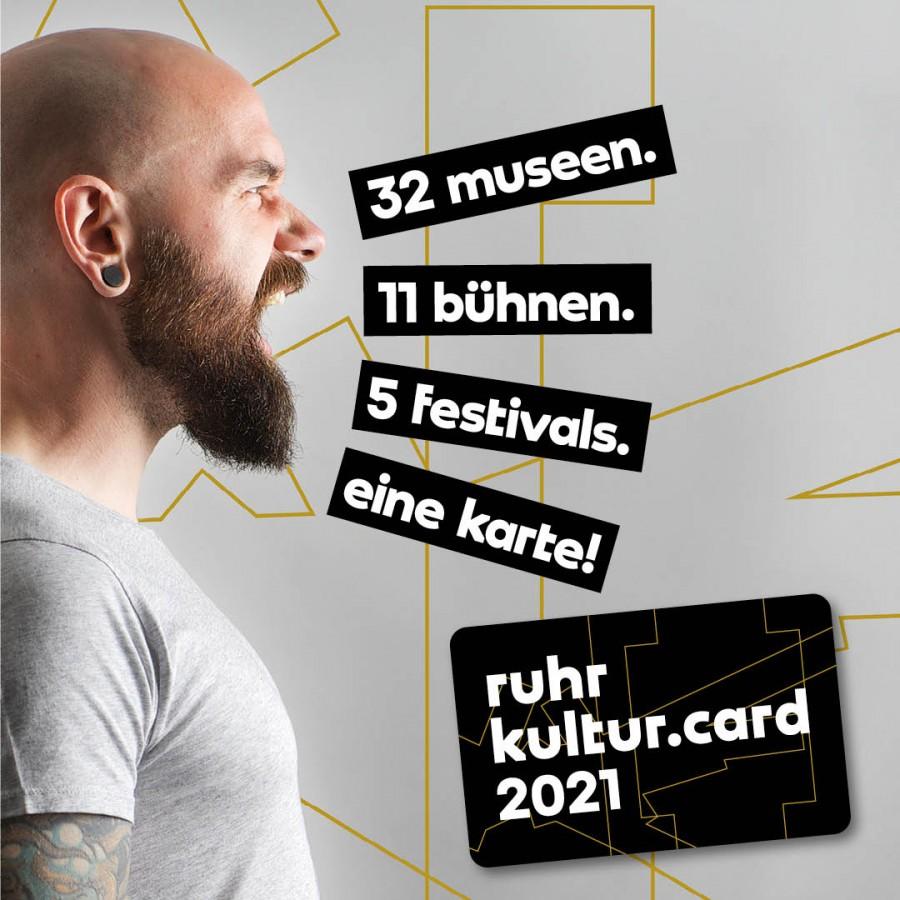 Werbematerial zur RuhrKulturCard 2021 der Ruhr Tourismus GmbH zum Verkaufstart am 12.November 2020. - Kunstmuseum Muelheim an der Ruhr