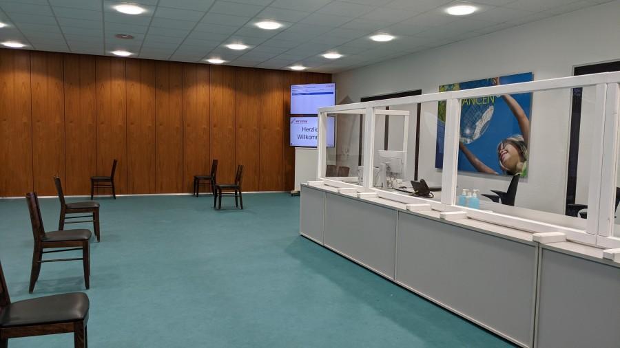 Registrierungsbereich im Impfzentrum Mülheim an der Ruhr - Referat I