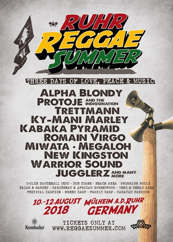 Ruhr Reggae Summer 2018: Three Days of Peace, Love and Music vom 10. bis12. August imRuhr Stadion - U-Concert