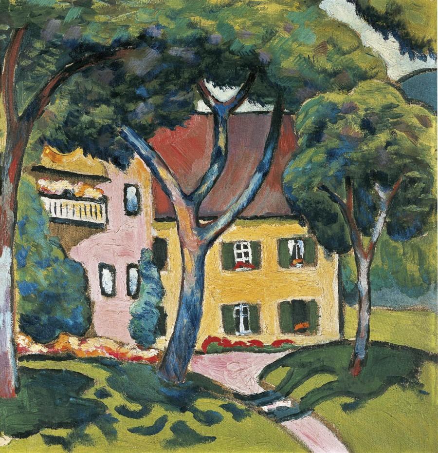 August Macke, Staudacherhaus am Tegernsee, 1910 Öl auf Leinwand, 46 x 44,6 cm Stiftung Sammlung Ziegler im Kunstmuseum Mülheim an der Ruhr - Stiftung Sammlung Ziegler