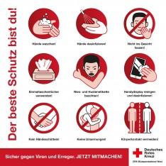 Grafik zum Viren-Schutz in Coronazeiten - auch beim Blutspenden wichtig - DRK-Blutspendedienst West